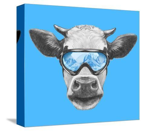 Portrait of Cow with Ski Goggles. Hand Drawn Illustration.-victoria_novak-Stretched Canvas Print