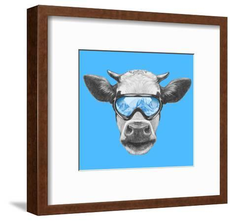 Portrait of Cow with Ski Goggles. Hand Drawn Illustration.-victoria_novak-Framed Art Print