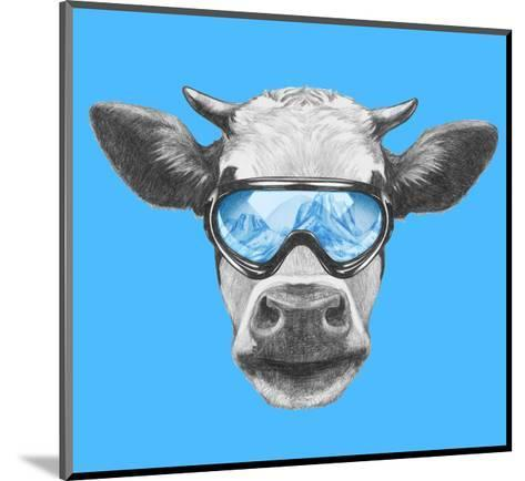 Portrait of Cow with Ski Goggles. Hand Drawn Illustration.-victoria_novak-Mounted Art Print