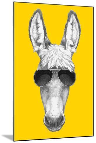 Portrait of Donkey with Sunglasses. Hand Drawn Illustration.-victoria_novak-Mounted Art Print