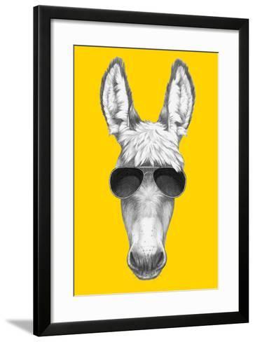 Portrait of Donkey with Sunglasses. Hand Drawn Illustration.-victoria_novak-Framed Art Print