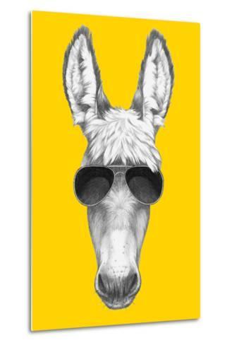 Portrait of Donkey with Sunglasses. Hand Drawn Illustration.-victoria_novak-Metal Print