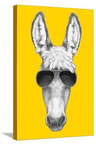 Portrait of Donkey with Sunglasses. Hand Drawn Illustration.-victoria_novak-Stretched Canvas Print