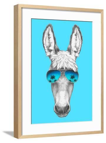 Portrait of Donkey with Mirror Sunglasses. Hand Drawn Illustration.-victoria_novak-Framed Art Print