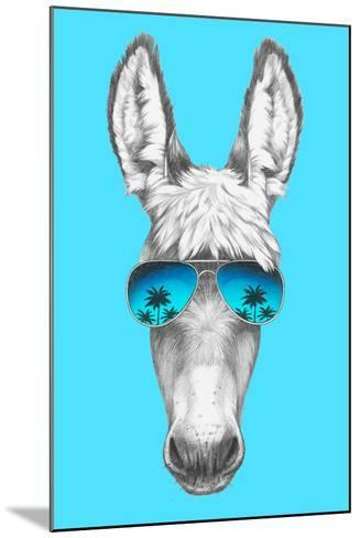 Portrait of Donkey with Mirror Sunglasses. Hand Drawn Illustration.-victoria_novak-Mounted Art Print