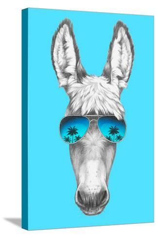Portrait of Donkey with Mirror Sunglasses. Hand Drawn Illustration.-victoria_novak-Stretched Canvas Print