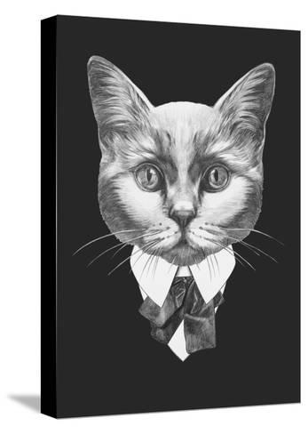 Portrait of Cat in Suit. Hand Drawn Illustration.-victoria_novak-Stretched Canvas Print
