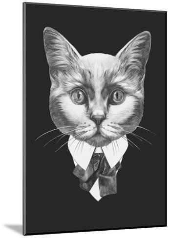 Portrait of Cat in Suit. Hand Drawn Illustration.-victoria_novak-Mounted Art Print