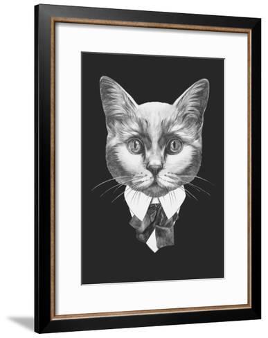 Portrait of Cat in Suit. Hand Drawn Illustration.-victoria_novak-Framed Art Print