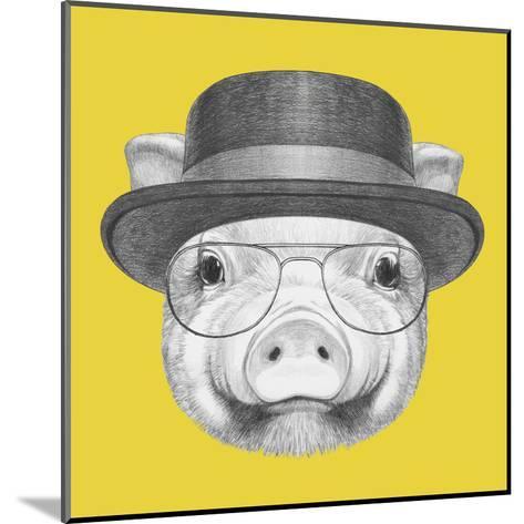 Portrait of Piggy with Gas Mask. Hand Drawn Illustration.-victoria_novak-Mounted Art Print