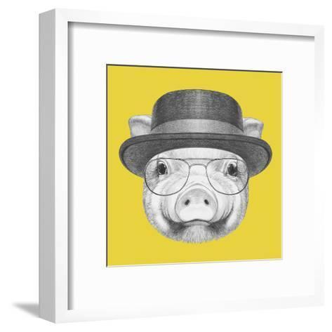 Portrait of Piggy with Gas Mask. Hand Drawn Illustration.-victoria_novak-Framed Art Print