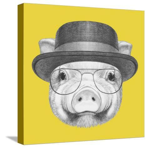 Portrait of Piggy with Gas Mask. Hand Drawn Illustration.-victoria_novak-Stretched Canvas Print
