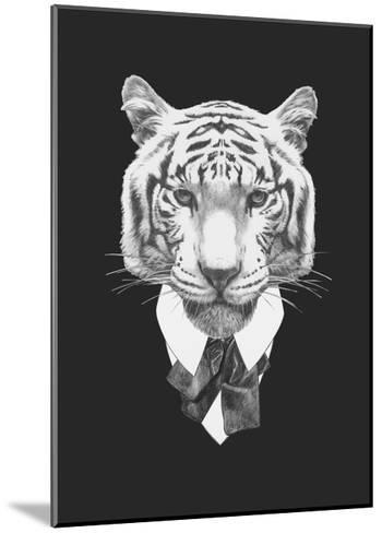 Portrait of Tiger in Suit. Hand Drawn Illustration.-victoria_novak-Mounted Art Print