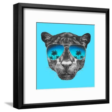 Portrait of Panther with Mirror Sunglasses. Hand Drawn Illustration.-victoria_novak-Framed Art Print