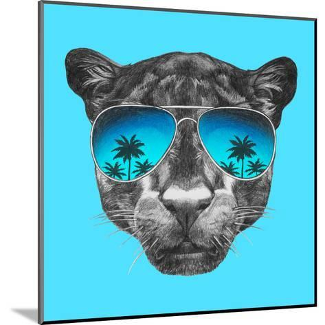 Portrait of Panther with Mirror Sunglasses. Hand Drawn Illustration.-victoria_novak-Mounted Art Print