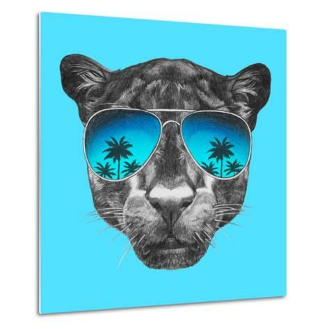 Portrait of Panther with Mirror Sunglasses. Hand Drawn Illustration.-victoria_novak-Metal Print