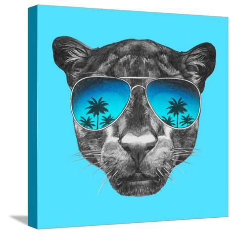 Portrait of Panther with Mirror Sunglasses. Hand Drawn Illustration.-victoria_novak-Stretched Canvas Print