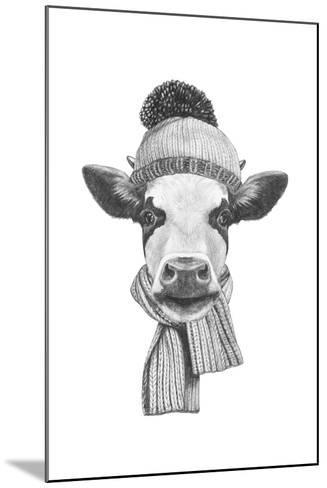 Portrait of Cow with Scarf and Hat. Hand Drawn Illustration.-victoria_novak-Mounted Art Print
