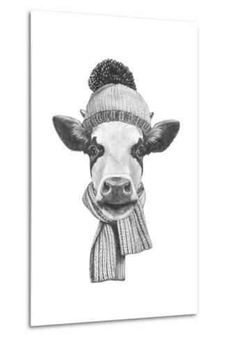 Portrait of Cow with Scarf and Hat. Hand Drawn Illustration.-victoria_novak-Metal Print