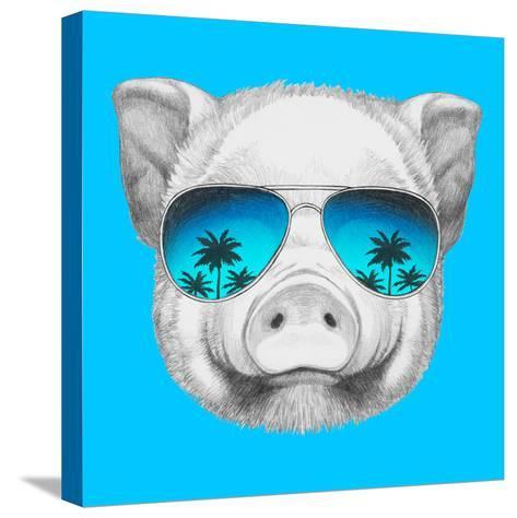 Portrait of Piggy with Mirror Sunglasses. Hand Drawn Illustration.-victoria_novak-Stretched Canvas Print