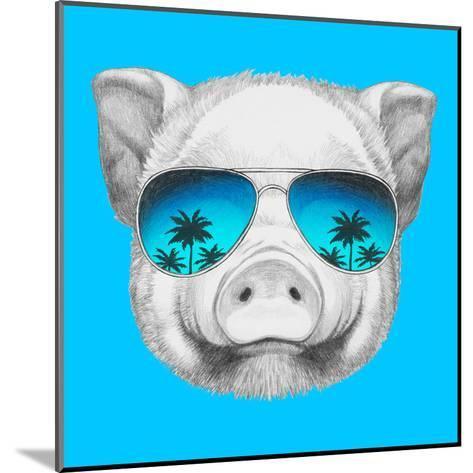 Portrait of Piggy with Mirror Sunglasses. Hand Drawn Illustration.-victoria_novak-Mounted Art Print