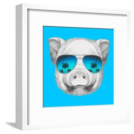 Portrait of Piggy with Mirror Sunglasses. Hand Drawn Illustration.-victoria_novak-Framed Art Print