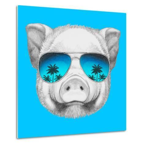 Portrait of Piggy with Mirror Sunglasses. Hand Drawn Illustration.-victoria_novak-Metal Print