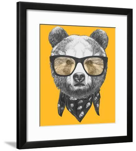 Original Drawing of Bear with Glasses. Isolated on Colored Background-victoria_novak-Framed Art Print