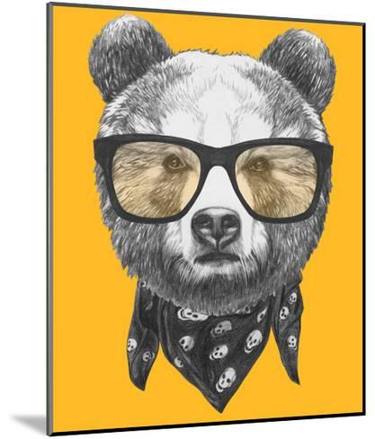 Original Drawing of Bear with Glasses. Isolated on Colored Background-victoria_novak-Mounted Art Print