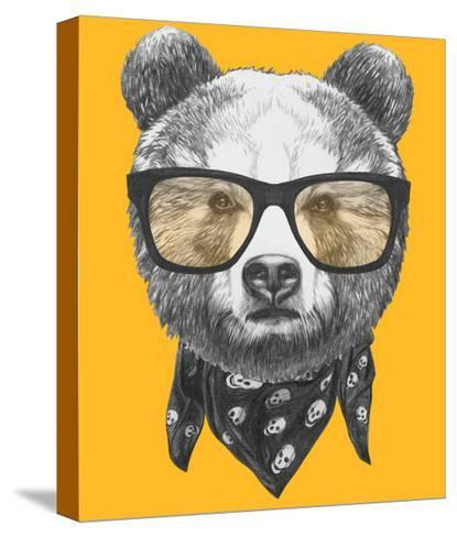 Original Drawing of Bear with Glasses. Isolated on Colored Background-victoria_novak-Stretched Canvas Print