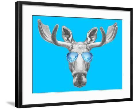 Portrait of Moose with Mirror Sunglasses. Hand Drawn Illustration.-victoria_novak-Framed Art Print