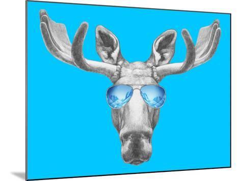 Portrait of Moose with Mirror Sunglasses. Hand Drawn Illustration.-victoria_novak-Mounted Art Print