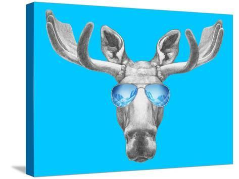Portrait of Moose with Mirror Sunglasses. Hand Drawn Illustration.-victoria_novak-Stretched Canvas Print