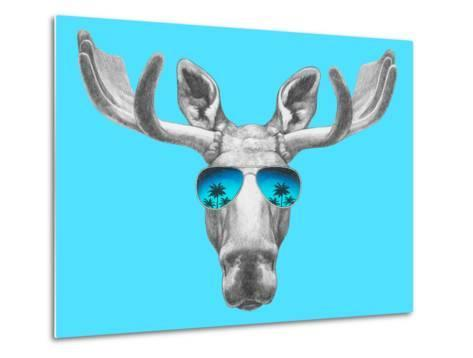 Portrait of Moose with Mirror Sunglasses. Hand Drawn Illustration.-victoria_novak-Metal Print