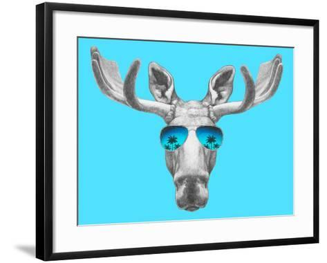Portrait of Moose with Mirror Sunglasses. Hand Drawn Illustration.-victoria_novak-Framed Art Print
