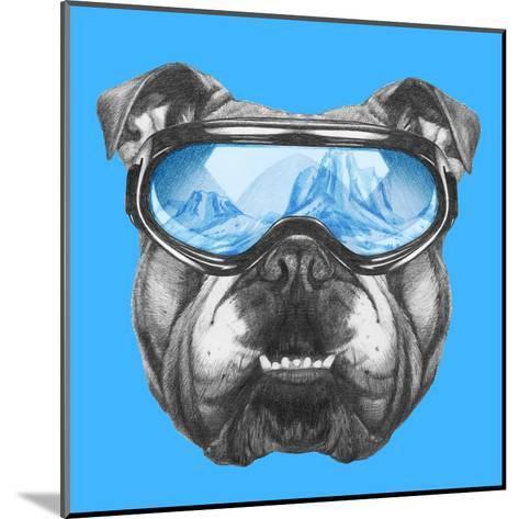Portrait of English Bulldog with Ski Goggles. Hand Drawn Illustration.-victoria_novak-Mounted Art Print