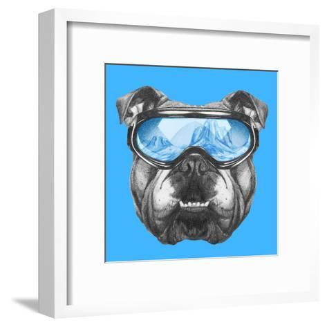Portrait of English Bulldog with Ski Goggles. Hand Drawn Illustration.-victoria_novak-Framed Art Print