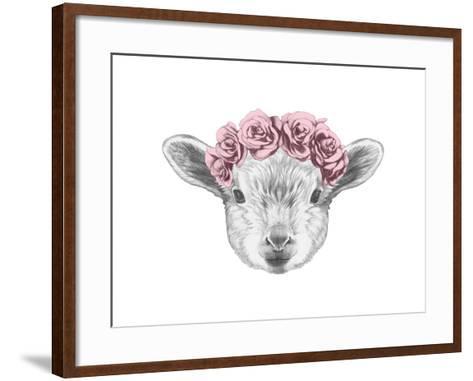 Portrait of Lamb with Floral Head Wreath. Hand Drawn Illustration.-victoria_novak-Framed Art Print