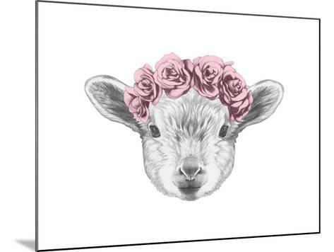 Portrait of Lamb with Floral Head Wreath. Hand Drawn Illustration.-victoria_novak-Mounted Art Print