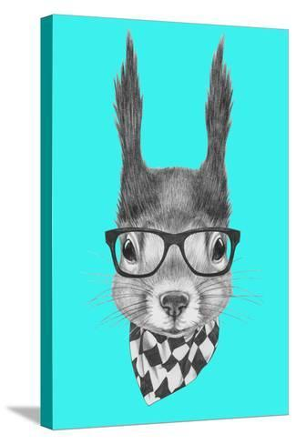 Portrait of Squirrel with Scarf and Glasses. Hand Drawn Illustration.-victoria_novak-Stretched Canvas Print