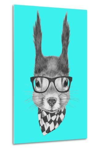 Portrait of Squirrel with Scarf and Glasses. Hand Drawn Illustration.-victoria_novak-Metal Print