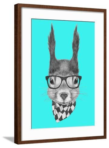 Portrait of Squirrel with Scarf and Glasses. Hand Drawn Illustration.-victoria_novak-Framed Art Print