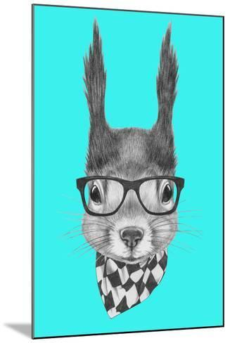 Portrait of Squirrel with Scarf and Glasses. Hand Drawn Illustration.-victoria_novak-Mounted Art Print