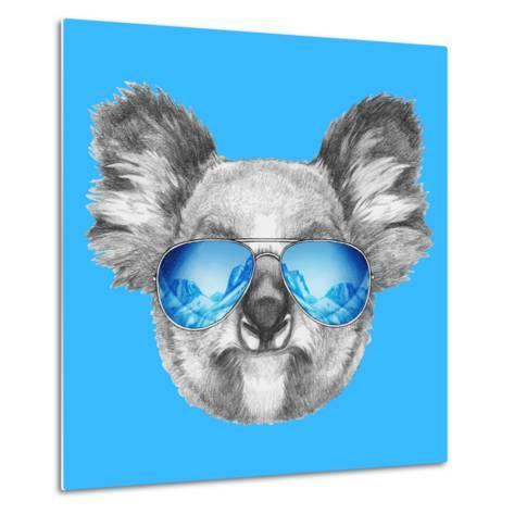 Portrait of Koala with Mirror Sunglasses. Hand Drawn Illustration.-victoria_novak-Metal Print