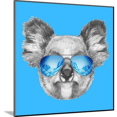Portrait of Koala with Mirror Sunglasses. Hand Drawn Illustration.-victoria_novak-Mounted Art Print