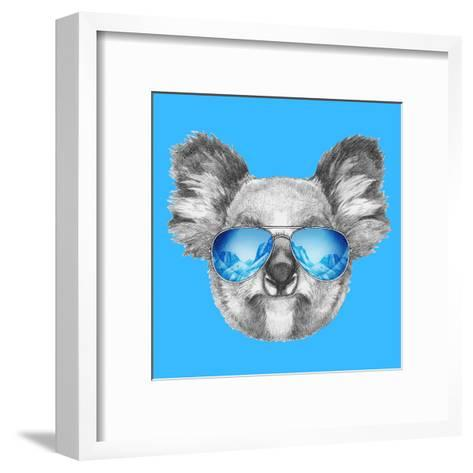 Portrait of Koala with Mirror Sunglasses. Hand Drawn Illustration.-victoria_novak-Framed Art Print