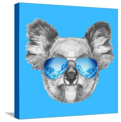 Portrait of Koala with Mirror Sunglasses. Hand Drawn Illustration.-victoria_novak-Stretched Canvas Print