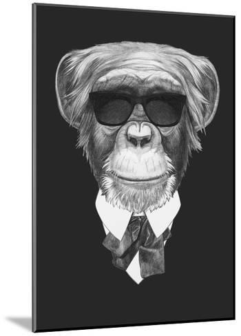 Portrait of Monkey in Suit. Hand Drawn Illustration.-victoria_novak-Mounted Art Print