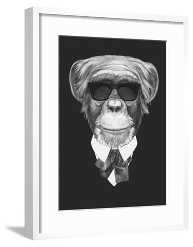 Portrait of Monkey in Suit. Hand Drawn Illustration.-victoria_novak-Framed Art Print