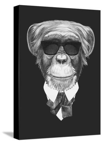 Portrait of Monkey in Suit. Hand Drawn Illustration.-victoria_novak-Stretched Canvas Print